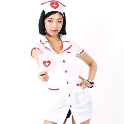 섹시 레이스 간호사 의상 (할로윈 성인 여성 의상)