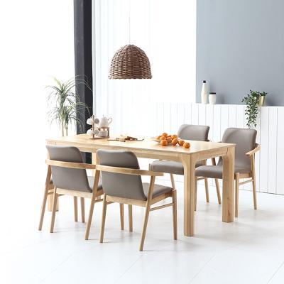 휴치 고무나무 원목 와이드 식탁 세트 4인용 의자형 A