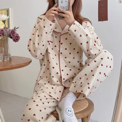 여성 홈웨어 잠옷 세트 파자마 레튼 하트 도트