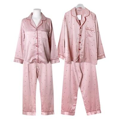 [쿠비카]DTY 미니 딸기 프린팅 투피스 커플잠옷 WM265
