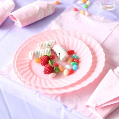 칼라 파티접시 라운드 23cm-핑크(6입)