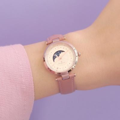 [OST] 풀 아라빅 문페이즈 핑크 가죽여성시계