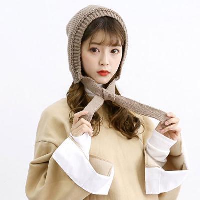 띵크 귀여운 후드 겨울 털모자 니트모자