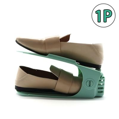 좁은현관정리 신발정리선반 높이조절 신발정리대 녹색