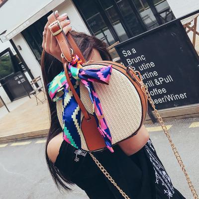 로던 라탄 왕골 원형 탬버린 크로스백