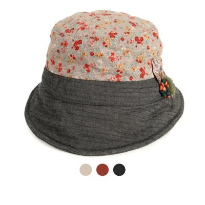 [디꾸보]플라워 배색 나뭇잎패치 벙거지 모자 AC496