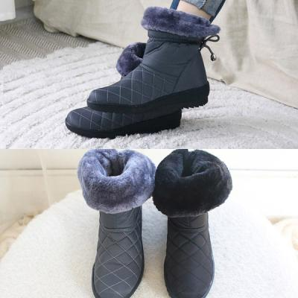 [애슬릿]퀼팅 매듭 여성 퍼 방한 패딩 부츠 3.5cm