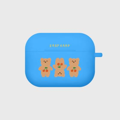 Three cherry big bear-blue(Air pods pro case)