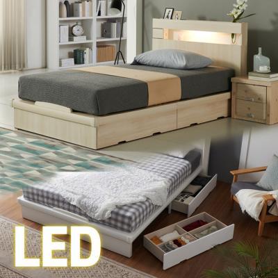 LED조명+콘센트 침대 SS (양면매트) 65t서랍 KC183