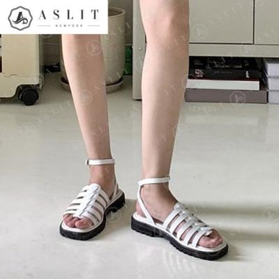 [애슬릿]스퀘어 여성 꼬임 발목 스트랩 플랫 샌들