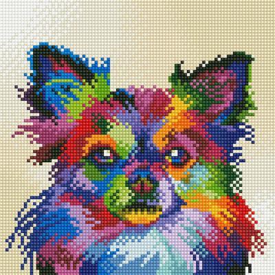 레인보우 강아지 (캔버스형) 보석십자수 25x25