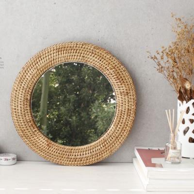[2HOT] 라탄 벽걸이 거울 원형 3호