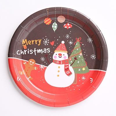 크리스마스 파티접시 18cm (10개입) 눈사람