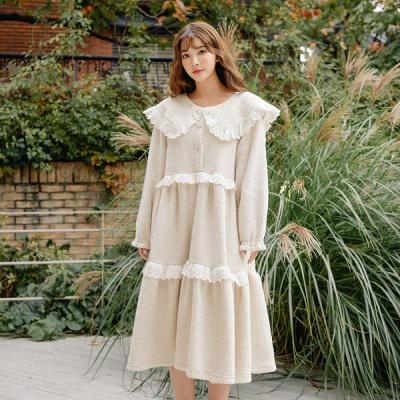 [쿠비카]인조양털 레이스 원피스 여성잠옷 W530