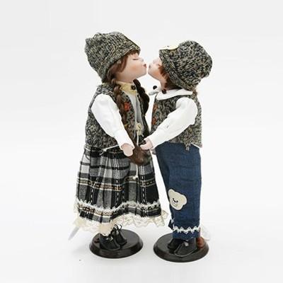 키스하는 인형 커플 - 네이비 커플