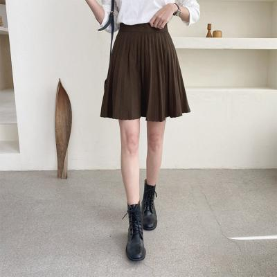 Pleated Knit Mini Skirt