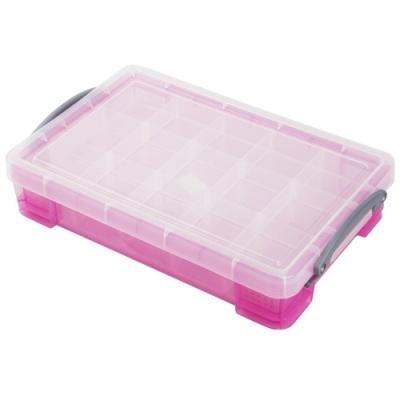 [Really Useful] 클리어박스4리터 (Litre) 2단칸막이 투명핑크 [개/1] 302748