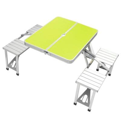 4인용 의자 일체형 접이식 캠핑테이블 그린