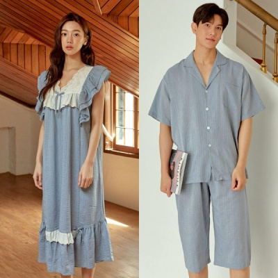 [쿠비카]포인트 레이스 리본 원피스 커플잠옷 WM337