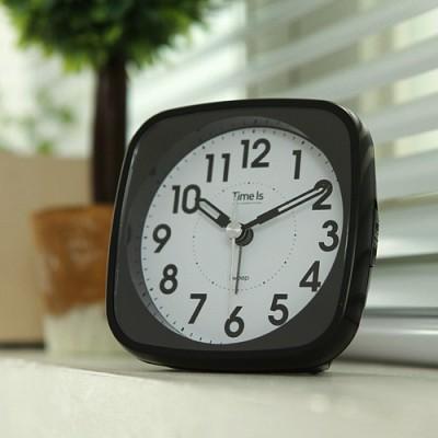 라운드 사각 알람 탁상시계(블랙)