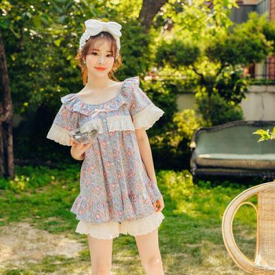 [쿠비카]레이스 플라워 반팔 순면투피스 여성잠옷W305