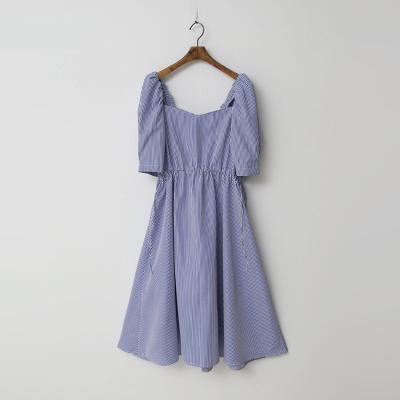 Square Stripe Puff Dress