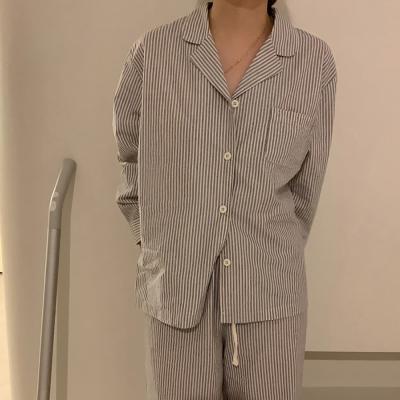 여성 홈웨어 잠옷 세트 파자마 보프 모던 스트라이프