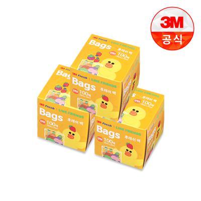 [3M]라인프렌즈 후레쉬 위생백 100매(컴팩트) 3개세트