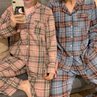 여성 홈웨어 잠옷 세트 커플 파자마 베키 타탄체크