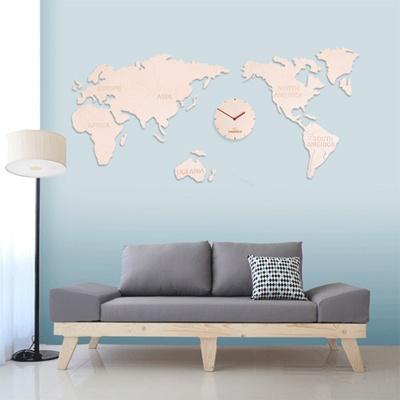(ktk073)세계지도 자작나무시계 (natural big)