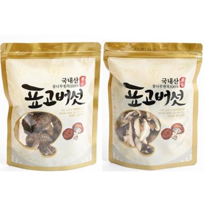 [참나무] 표고버섯 100g(원형)x2봉+슬라이스 80gx2봉