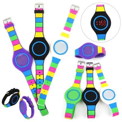 LED 컬러풀 실리콘 손목 시계 디지털 패션 팔찌 밴드