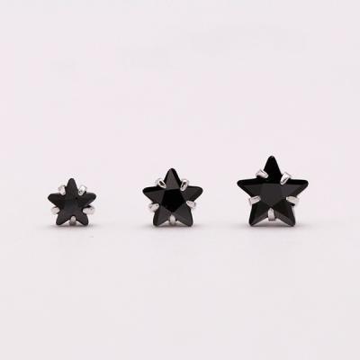 [애슬릿]큐빅 블랙 별 전체 실버 은침 귀걸이_4