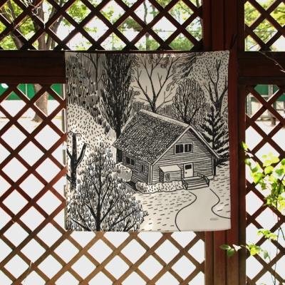 집 일러스트 패브릭 포스터 / 가리개 커튼