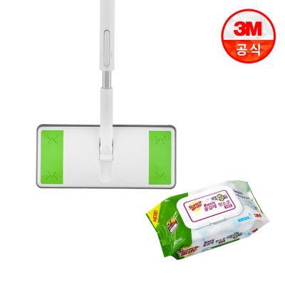 올터치 막대걸레+베이직 더블액션 물걸레 청소포 표준형 30매
