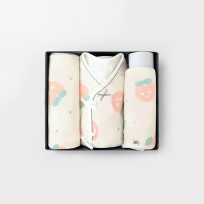 [메르베] 피치피치 출산선물세트(저고리+속싸개+모자)