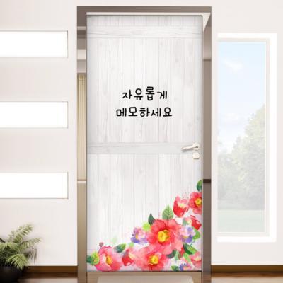ic344-칠판현관문시트지_동백꽃패널