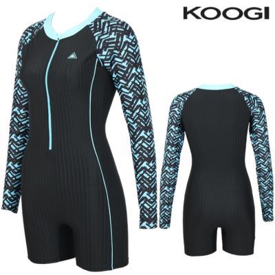 KS-M274 쿠기 여성인 반전신긴팔 실내수영복