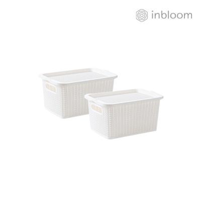 인블룸 1+1세트 커버 라탄 리빙박스 소형 아이보리