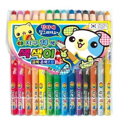 지구 색색이 색연필 14색
