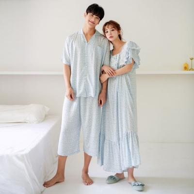 [쿠비카]플라워 레이온 롱 원피스 커플잠옷 WM254