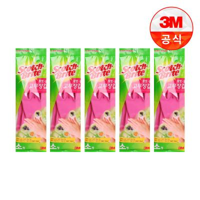 [3M]황토숯 일반형 고무장갑(소) 5개세트