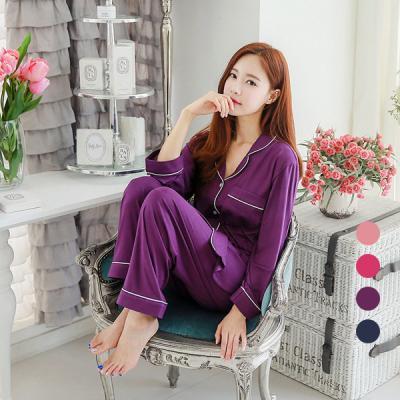 [쿠비카]도브 모달 파이핑 긴팔 투피스 여성잠옷 W358