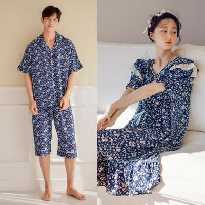 [쿠비카]커플 반팔 라운드넥 원피스 잠옷 WM176