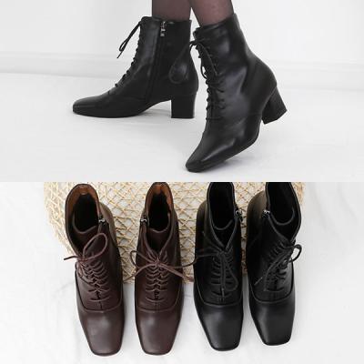 [애슬릿]지퍼 레이스업 스퀘어 여성 워커 부츠 5cm