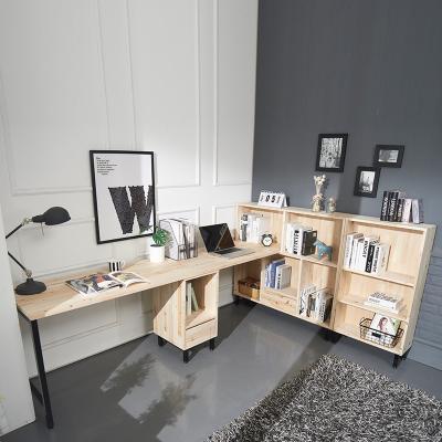 라릴 삼나무 2인 H형 책상+책장 세트 B형