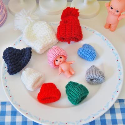 인형용 미니 뜨개 벙거지 모자