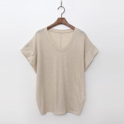 Linen Cotton V-Neck Tee