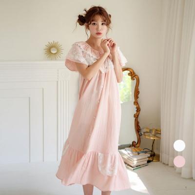 [쿠비카]풀 오픈형 이중거즈면 롱 원피스 잠옷 W610