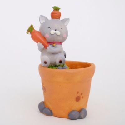 홈가든 고양이 미니화분(당근) 인테리어소품 다육식물